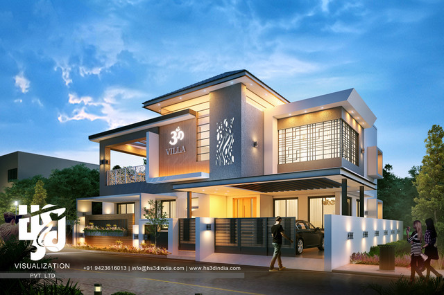 Exterior Design Night Rendering | Awesome Modern Home modern-exterior ...