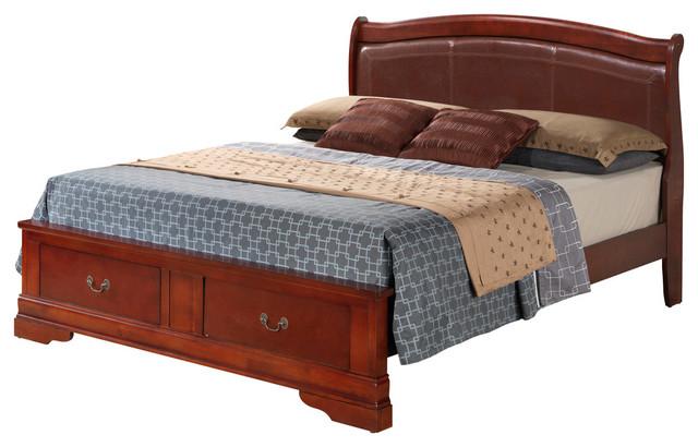 Glory furniture wood veneer with padded headboard cherry Traditional wood headboard