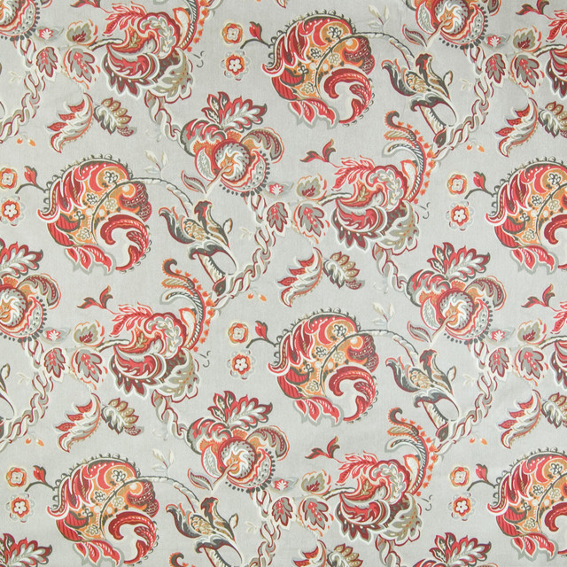 Lantern red gray red chintz floral cotton made in usa for Modern home decor fabric prints