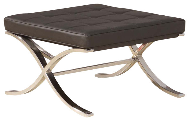 Black Pu Faux Leather Upholstered Seat Ottoman With Quot X