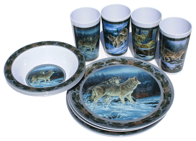 Wolf 12 Piece Dish Set Rustic Dinnerware Sets By