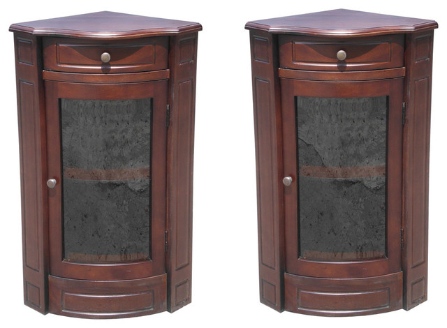 Mahogany Corner Glass Cabinet Short, Set of 2 traditional ...