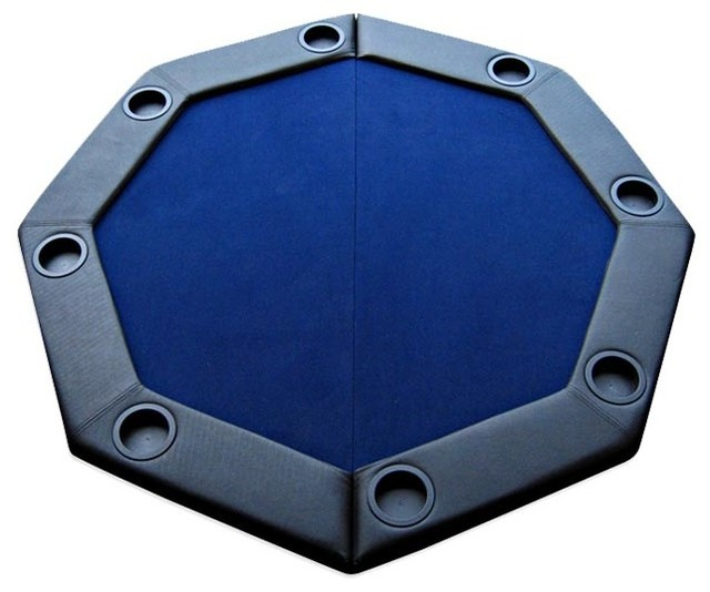 padded octagon folding poker table top w cup holders in
