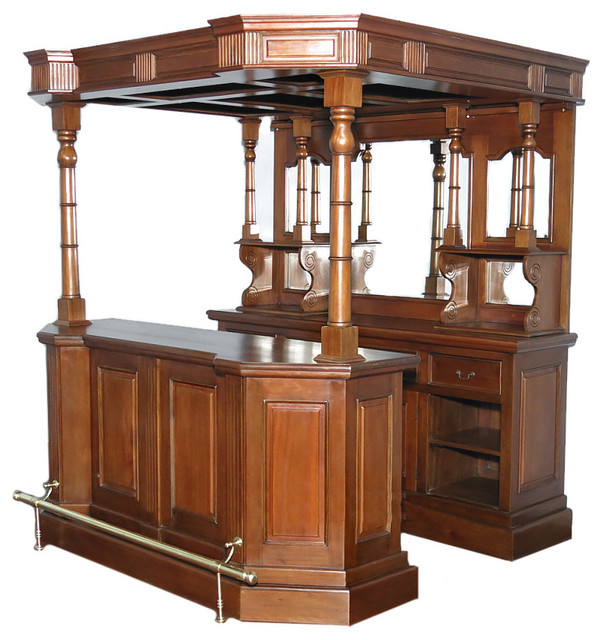 6 5ft Solid Mahogany English Canopy Home Pub Bar Traditional Wine And Bar Cabinets By Mbw