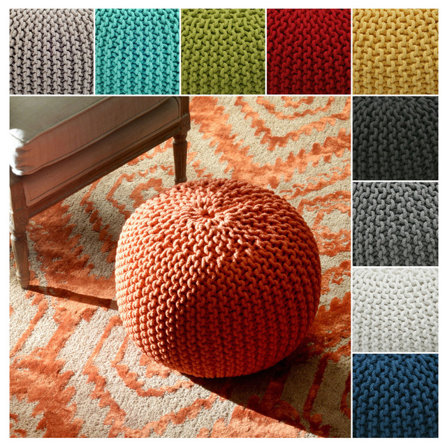 Floor Pillows Modern : nuLOOM Handmade Casual Living Disco Cables Pouf - Contemporary - Floor Pillows And Poufs - by ...