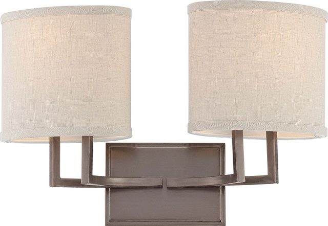 Vanity Light No Shades : Nuvo Lighting 60-4852 Gemini 2-Light Vanity Fixture with Khaki Fabric Shades transitional ...