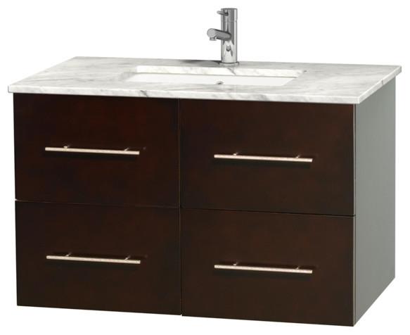 Centra 36 bathroom vanity espresso carrera marble top for Marble top console sink