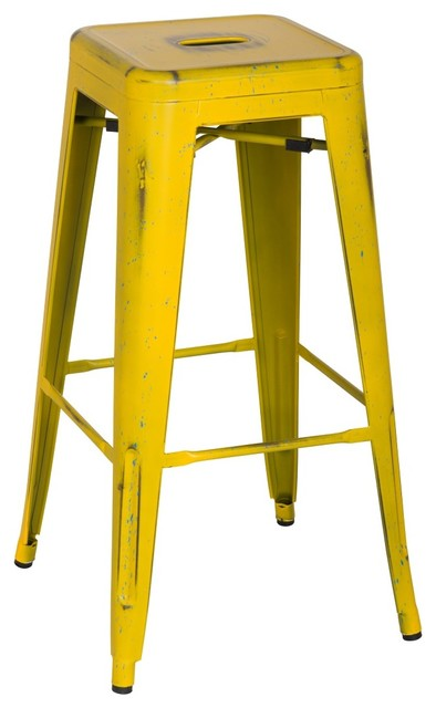 Metropolis Metal Backless Bar Stool Distressed Yellow  : industrial bar stools and counter stools from houzz.com.au size 394 x 640 jpeg 37kB