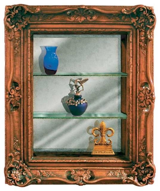 3-Shelf Ornate Curio in Oak Finish - Victorian - China ...