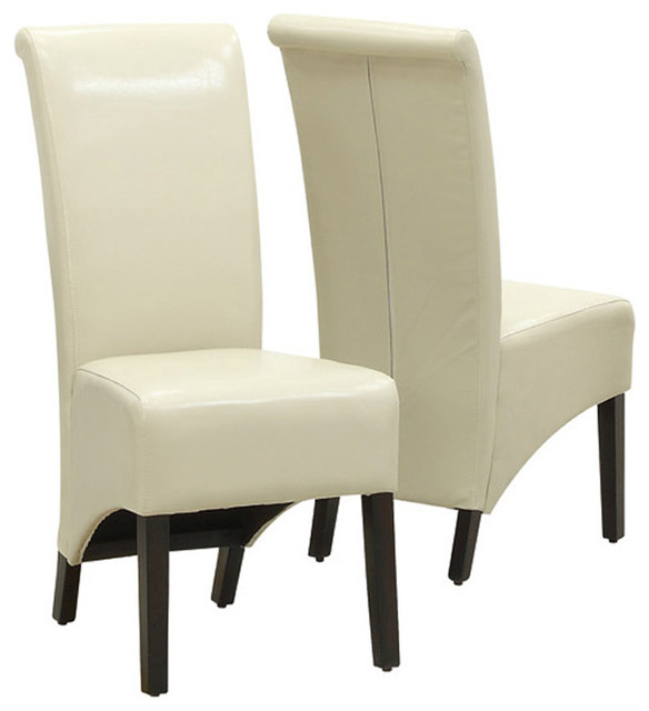 Monarch Specialties 1777TP Parson Chair In Taupe Leather Set Of 2 Traditi