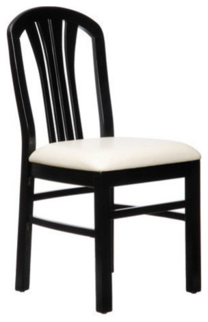 Fan back chair with cushion black transitional dining chairs by