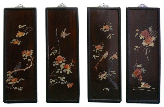 Chinese color stone inlay flower bird scenery wall panel for Asian wall decoration