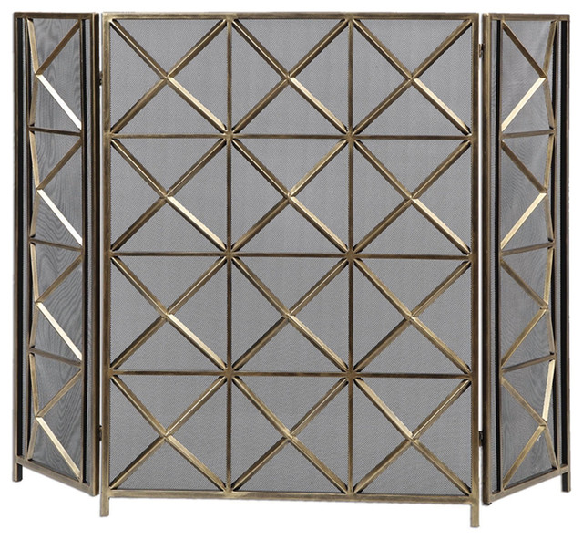 Uttermost akiva heavily burnished silver champagne for Silver fireplace doors
