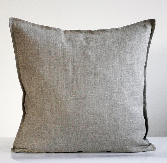 Traditional Sofa Pillows : Linen Pillow Cover, Gray by Pillow Link - Traditional - Decorative Pillows - by Etsy