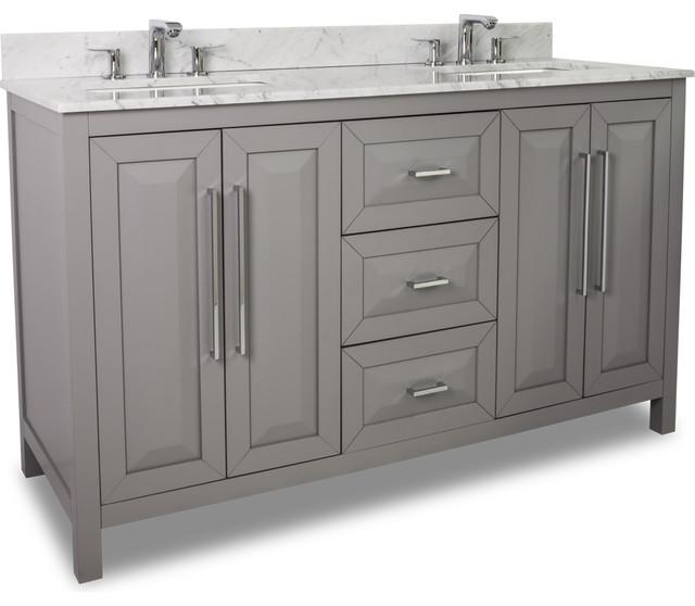 Cade Contempo Double Vanity With Top Gray 60 Contemporary Bathroo
