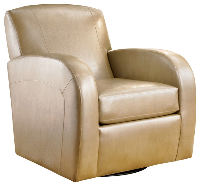 ... Swivel Glider Chair in Cream Leather traditional-living-room-chairs