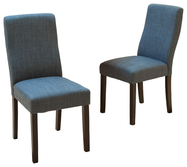 Heath Fabric Dining Chairs Set Of 2 Indigo Contemporary Dining Chairs