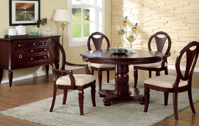 milano cherry wood round tabel dining set contemporary dining sets