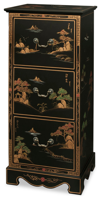Chinoiserie Scenery Design File Cabinet - Asian - Furniture - by China Furniture and Arts