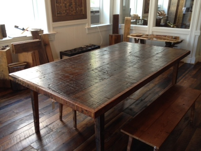 Reclaimed wood dining table contemporary tables