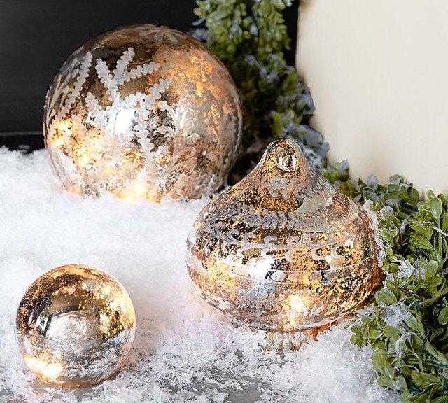 Etched mercury glass ornament contemporary christmas