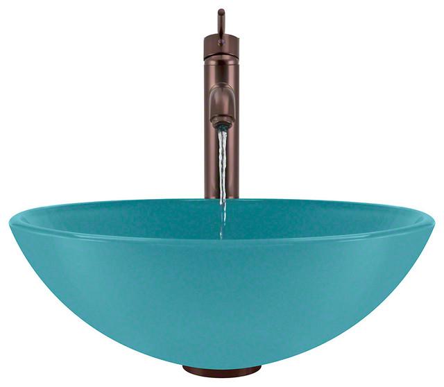 Turquoise Vessel Sink : MR Direct 601 Vessel Sink Ensemble 718 Faucet, Turquoise, Oil Rubbed ...