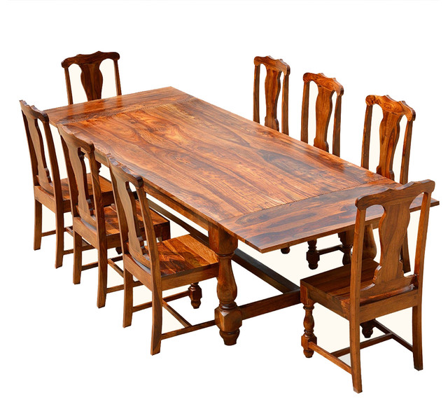 Santa fe solid wood dining table chair set with for Solid wood dining table sets