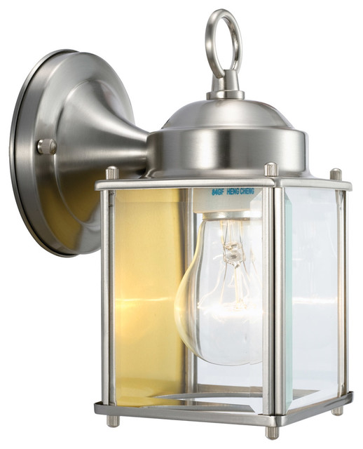 Outdoor Wall Sconce Downlight : Coach 1-Light Satin Nickel Outdoor Downlight - Transitional - Outdoor Wall Lights And Sconces ...