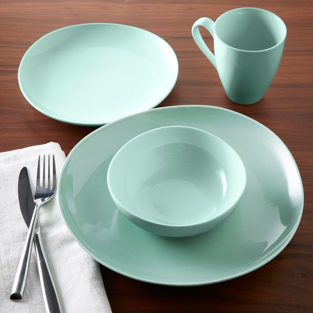 Organic Shaped Dinnerware, Mint, Sets of 4 - Contemporary - Dinnerware - by West Elm