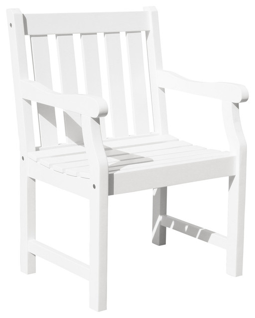 Bradley Eco Friendly Outdoor Wood Garden Arm Chair White Outdoor Lounge Ch