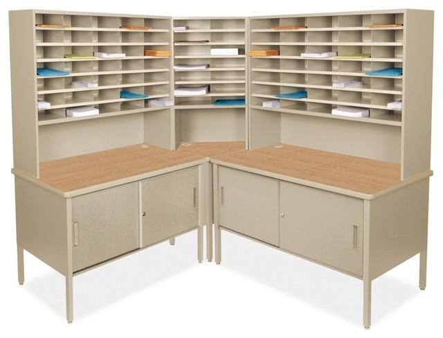 Mailroom Marvel 84 Slot Corner Literature Organizer With Cabinet - Rustic - Desks And Hutches ...
