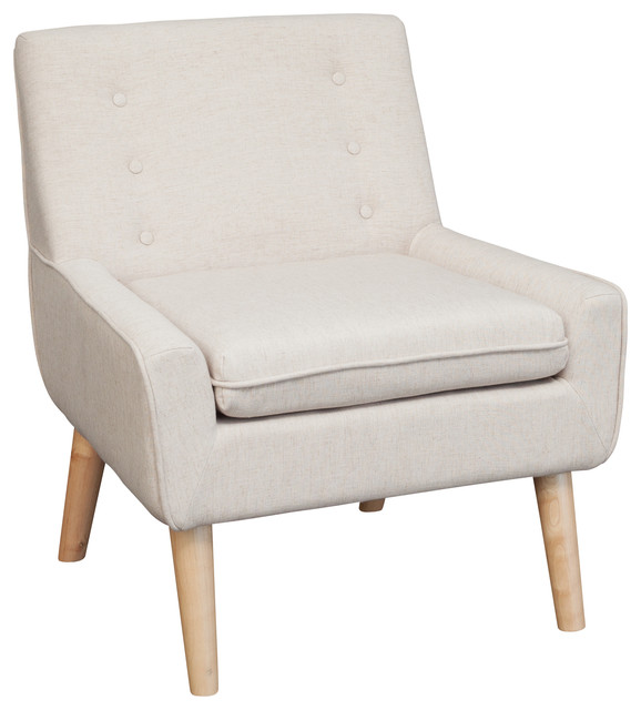 Brockston Fabric Retro Accent Chair Light Beige