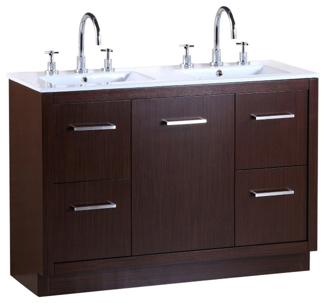 Bellaterra 48 Inch Double Sink Vanity Contemporary Bathroom Vanity Units