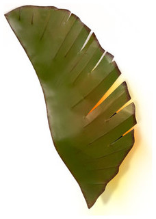 Tropical Bathroom Wall Sconces : Banana Leaf Metal Indoor Two-Light Sconce - Tropical - Wall Sconces - by Bellacor
