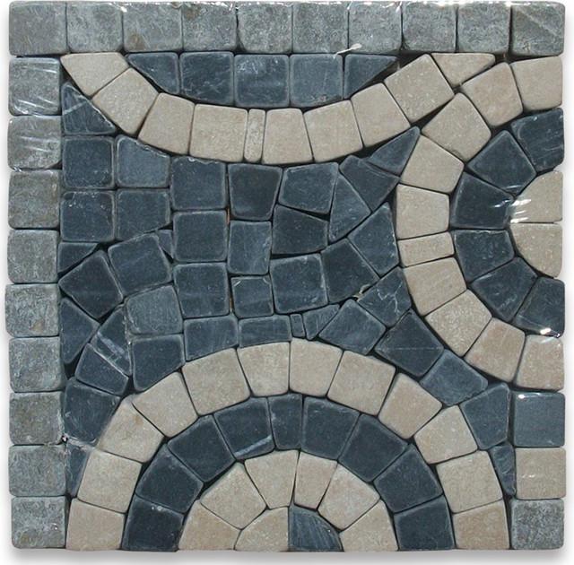 Swirl Nero 4x4 Marble Mosaic Border Corner Tumbled