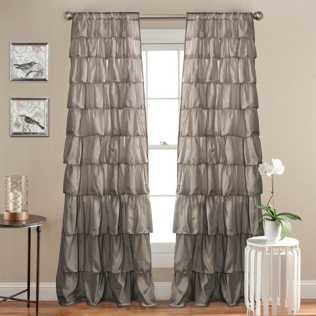 Ruffle Window Curtain, Gray - Curtains - by Lush Decor
