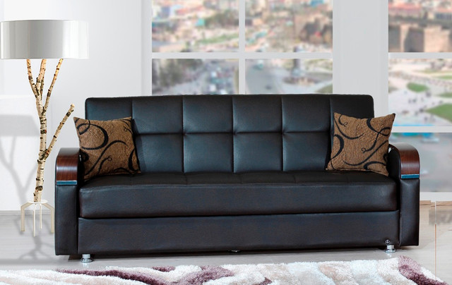 Soho sofa bed in bonded brown contemporary sofas new for Soho sofa bed