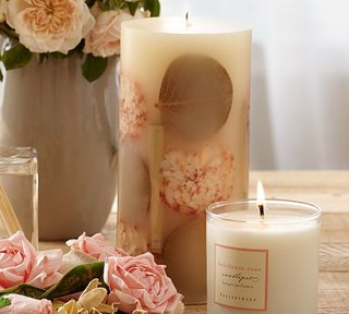 """Homescent Botanical Pillar Candle, 4 x 8"""", Heirloom Rose - Traditional - Candles - by Pottery Barn"""
