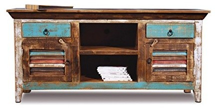 Reclaimed pine wood entertainment center turquoise bord de mer solution - Meuble tv bord de mer ...