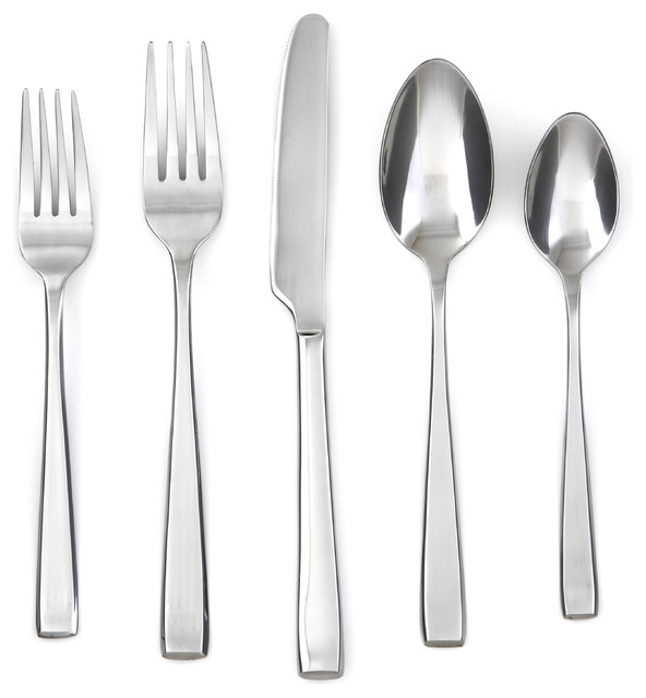 Cambridge Ascend 20 Piece Flatware Set Contemporary Flatware And Silverware Sets By