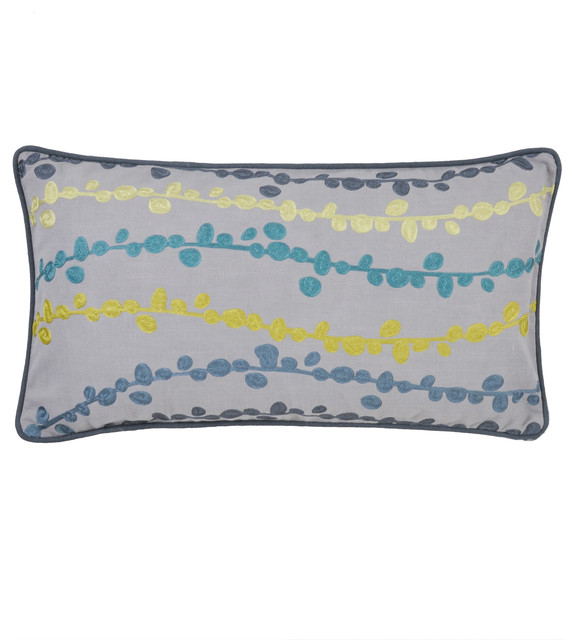 Villa URB Yuki Pillows - Grey/Blue/Green 14x26; Set of 2 - Modern - Scatter Cushions - by Urban ...