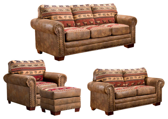 Sierra lodge 4 piece set rustic living room furniture for 4 piece living room furniture