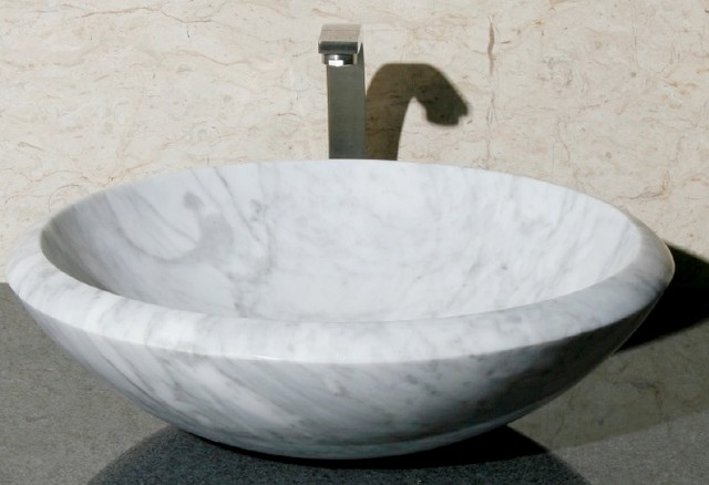 Carrara White Marble Vessel Sink - Modern - Bathroom Sinks - other ...