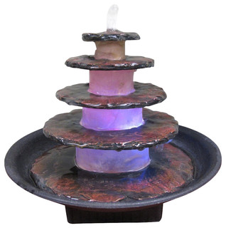 5 tier stacked slate stone design tabletop fountain for Abanos furniture industries decoration llc