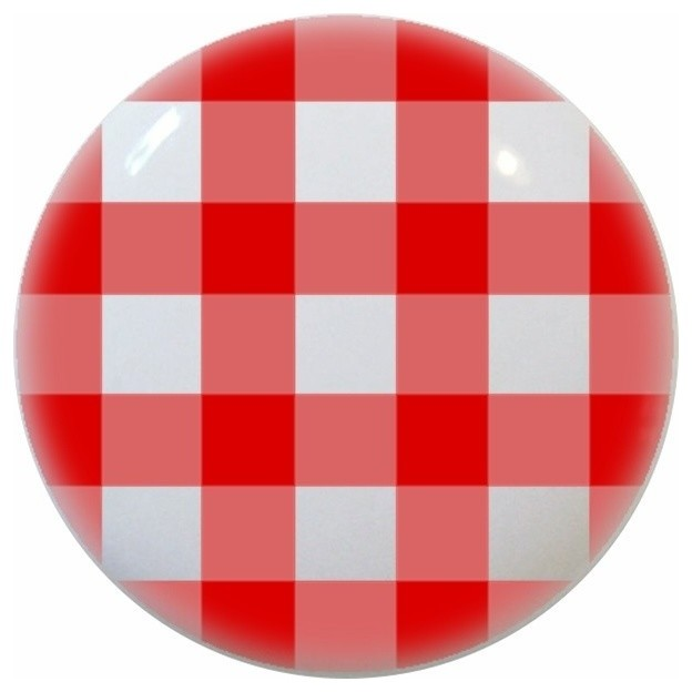 Red Gingham Ceramic Knob - Contemporary - Cabinet And Drawer Knobs - by Carolina Hardware and ...