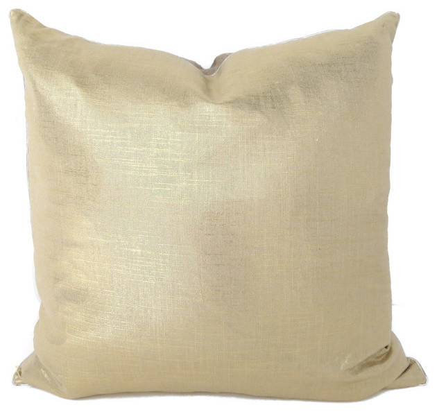 Modern Gold Pillows : Liquid Gold Linen, 26