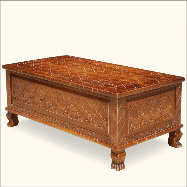 New delhi elephant hand carved oak chest coffee table traditional coffee tables austin Hand carved coffee table