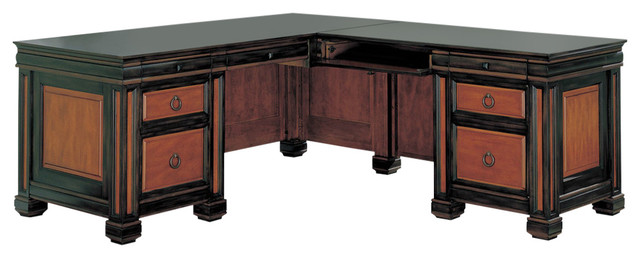 Coaster tate home office l shaped desk in two tone finish for Bedroom l shaped desks