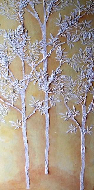 Raised Plaster Life Sized Sapling Tree Stencil Set Wall