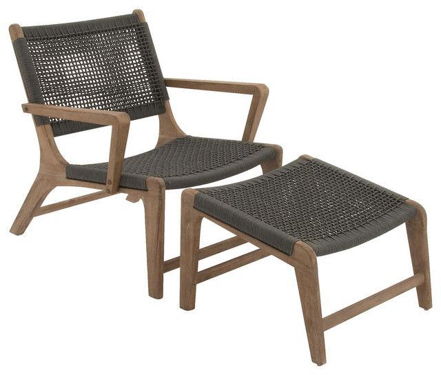 fortable Wood Rope Outdoor Chair With Footrest Set Contemporary Outdoo